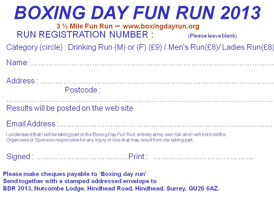 Registration Form for Boxing Day Run