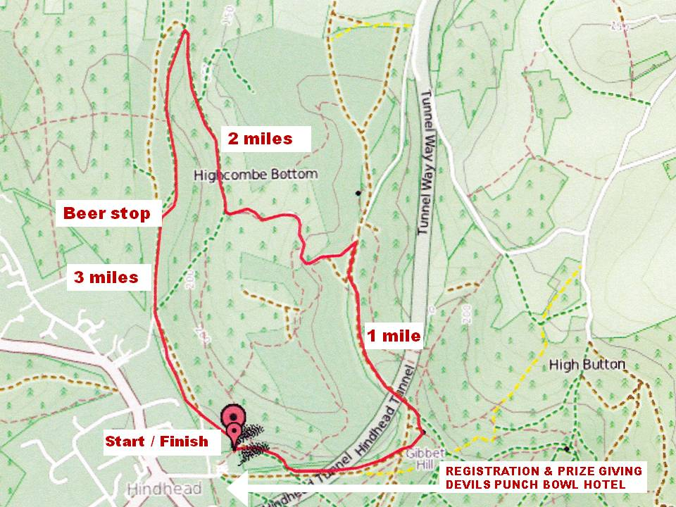 Map of the course for Boxing Day Run